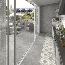 Lot de 51.84 m² - Carrelage moderne extérieur gris ciment 60x60 cm antidérapant DELTA CEMENTO R13