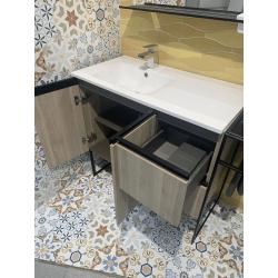 Déstockage - Meuble STRUCTURE simple vasque + colonne - 90+10x57 cm