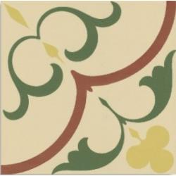 Carrelage imitation ciment rosace jaune verte beige 20x20 cm 1900 GAUDI - 1m²