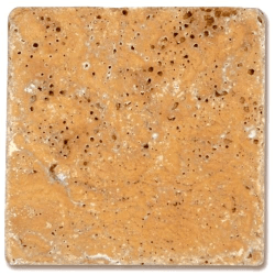 Carrelage pierre Travertin vieilli jaune 10x10 cm - 0.5m²