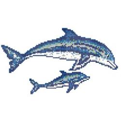 Décor couple de dauphins mosaique piscine 300x166 cm - unité