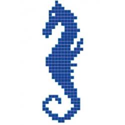 Décor mosaique piscine hippocampe cheval de mer 33x100 cm - unité