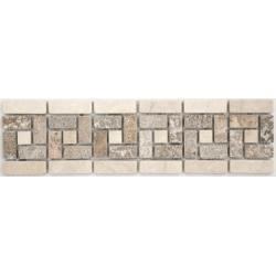 Frise pierre 505 Travertin Noce - Marbre Beige 28.5x7 cm - unité Barwolf