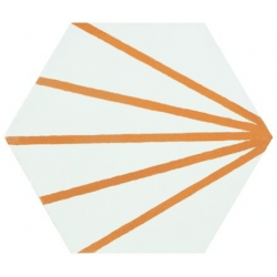 Tomette blanche à rayure orange motif dandelion MERAKI LINE MOSTAZA 19.8x22.8 cm - 0.84m²