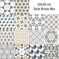 Carrelage imitation ciment mix 20x20 cm BISTRO - 1m²