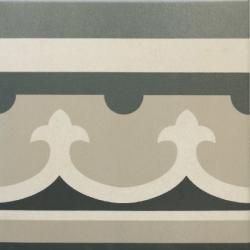 Carrelage imitation ciment rosace 20x20 cm CAPRICE CHATELET Bordure- 1m²