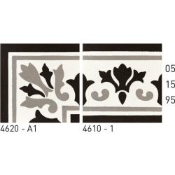 Carreau de ciment frise noir gris blanc 20x20 cm ref4610-1 - Unité