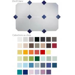 Carrelage 20x20 blanc octogone avec cabochons CERAME MAT - 1.5m²
