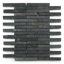 Mosaique ardoise noire 1.5x12.5 cm - unité