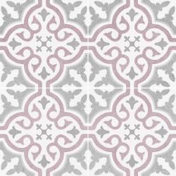 Carrelage imitation ciment rosace lie de vin OLD SCHOOL BRIANA ROSE 45x45 cm - 1.42m²