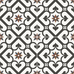 Carrelage style ciment mono-motif carreau rouge et noir OLD SCHOOL GALES CLASSIC 45x45 cm - 1.42m²