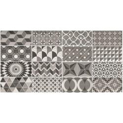 Carrelage METRO 21396 décor ciment PATCHWORK Noir et Blanc 7.5x15 cm - 0.5m² Equipe