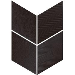 Carrelage losange diamant 14x24cm noir relief ref. 21295 RHOMBUS MAT - 1m²