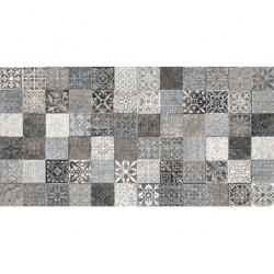 Faience style ciment mosaique gris décoré Deco Lys Grey 32x62.5 cm - 1m² GayaFores