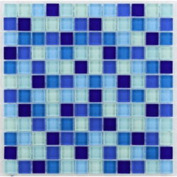 Glasmosaik bleu 2.3x2.3 cm - 30x30 - unité Barwolf