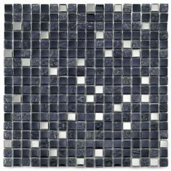 Mosaique salle de bain Glas metall noir 1.5x1.5 cm - 30x30 - unité Barwolf