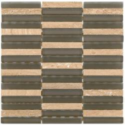 Mosaique salle de bain marron Glasnaturstein aspen brown 1.5x9.8 cm - 30x30 - unité