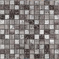 Malla Arte Gris- Mosaique en verre et grès cérame 30x30cm - unite
