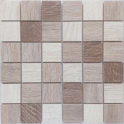 Malla Wood mix Beige - Mosaique imitation bois - grès cérame 29x29cm - unité