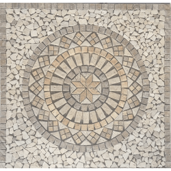 Rosace Travertin Beige / Travertin Noce 90x90 cm - NRD1