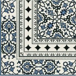 Carrelage azulejos fleurs bleues ORLY DECO ESQUINA (angle) 44x44 cm - unité Realonda