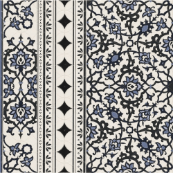 Carrelage azulejos fleurs bleues ORLY DECO CENEFA (bordure) 44x44 cm - 1.37m² Realonda