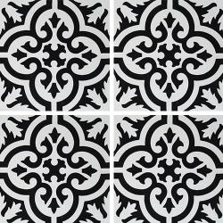 Carreau de ciment motif ancien floral noir et blanc 20x20 cm ref7900-7 - 0.48m²