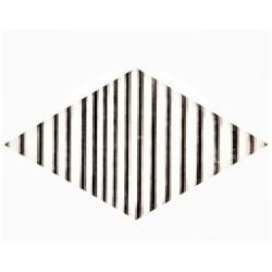 Carrelage mini-losange strié blanc et noir 15x8.55cm ROMBO TOP TITANI 10 - vendu à l'unité