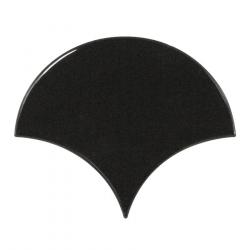 Carreau noir brillant 10.6x12cm SCALE FAN BLACK 21967 - 0.37m² Equipe