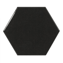Carreau noir brillant 12.4x10.7cm SCALE HEXAGON BLACK - 0.61m² Equipe