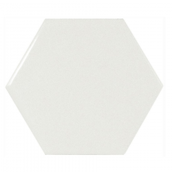Carreau blanc brillant 12.4x10.7cm SCALE HEXAGON WHITE 21911 - 0.61m²