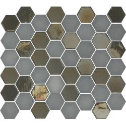 Mosaique mini tomette hexagonale grise 25x13mm SIXTIES GREY - 1m²