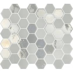 Mosaique mini tomette hexagonale blanc ivoire nacré 25x13mm SIXTIES WHITE- 1m²