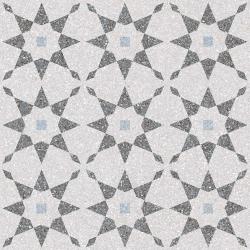 Carrelage à décors étoiles gris bleu rectifié AVENTINO-R Humo 29x29 - 0.94m²