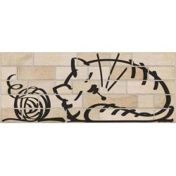 Parement mural briquettes original motif chat Marlon Nuney Beige Arena 20x50cm - 4 pièces
