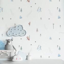 Papier peint design auto adhésif enfance A DAY IN THE SNOW 65x260cm - vendu par 2 lés AP Decoration