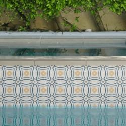 Carrelage piscine imitation ciment rosace 20x20 cm CAPRICE SAINT TROPEZ 20941 1m²