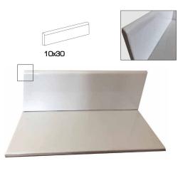 Plinthe blanche mate 10x30 cm grès cérame - unité