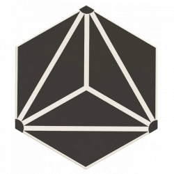 Carrelage tomette géométrique33x28.5 OSAKA BLACK - 1m²