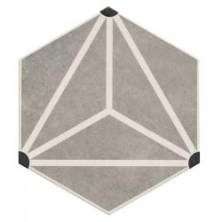 Carrelage tomette géométrique33x28.5 OSAKA GREY - 1m²