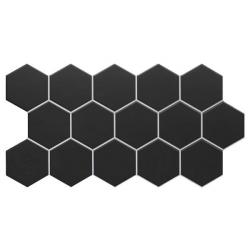 Carrelage tomette noire mate effet joint blanc 26.5x51 cm HEX BLACK - 0.95m²