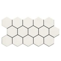 Carrelage tomette blanche mate effet joint noir 26.5x51 cm HEX SNOW - 0.95m² Realonda