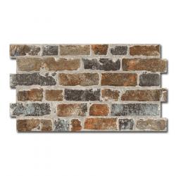 Parement mural cérame style pierre brique 31X56 cm MANHATTAN MARRON - 1.21m²