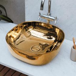 Vasque en céramique vitrifiée OR doré 42.5x42.5 cm