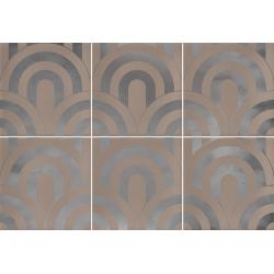 Faïence écaille beige/argent 23x33.5 TAKADA NUEZ PLATA - 1unité